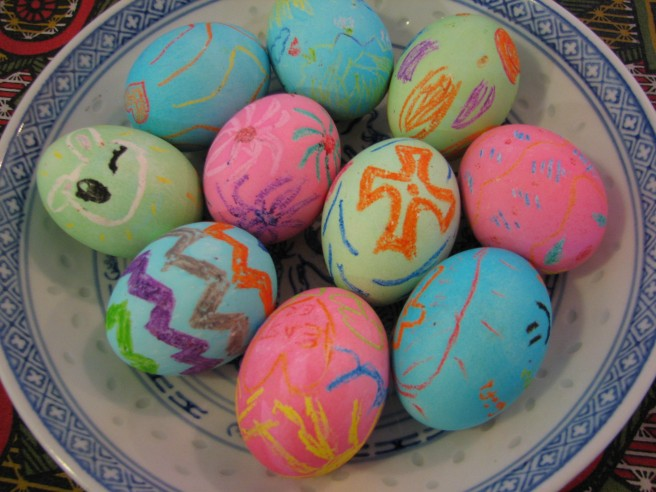 Completed Easter eggs. © Colline Kook-Chun, 2012