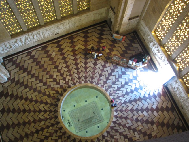 Sunlight lightens the interior of the building as seen from the top of the monument. From this view you can also see the Cenotaph. © Colline Kook-Chun, 2012