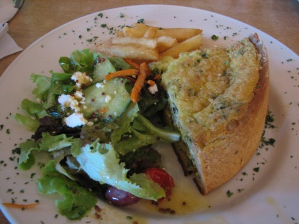 A favourite meal: salad with broccoli quiche.