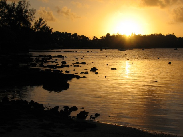 Sunset on a Mauritian Beach